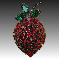 Dimensional Designer Rhinestone Strawberry Pin