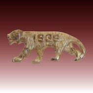 1939 Costume Gold Tone Figural Tiger Pin