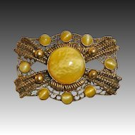 Victorian Revival Gilt Brass Filigree Pin Lemon & Pearl Art Glass