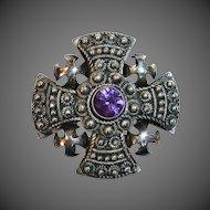 Ornate 900 Silver Jerusalem Cross w Amethyst Pin/Pendant