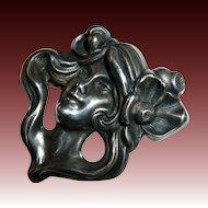 Fine Victorian Sterling Early Art Nouveau Lovely Woman Pin