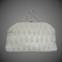 White Bead ~ Iridescent Sequin ~ Faux Pearl Evening Purse
