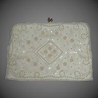 White Bridal Purse Bugle Beads & Faux Pearls Beading