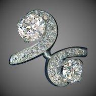Art Deco 14k White Gold Swirling Diamond Ring