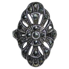 Art Deco Sterling & Marcasite Ring by Uncas