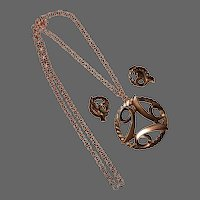 Bold Copper Pendant Necklace & Earrings Set c1950s