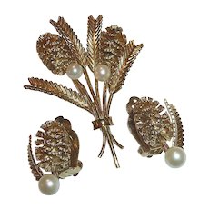 Gold Filled Pine Cone Sprig Designer Pin & Earrings Set c1950s