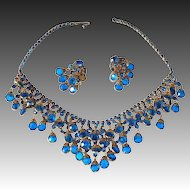Ultramarine Blue Crystal Drop Necklace & Earrings Set