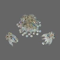 Cascading Crystals Pin & Earrings Set c1950s