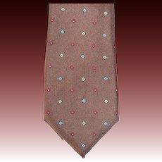 Silk Neck Tie Cocoa Brown w Tiny Multi Colored Diamonds