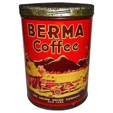 Berma Coffee Tin-Grand Union Great Graphics!