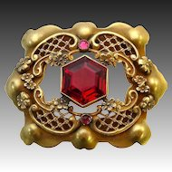 Victorian Red Glass Jewel Brass Sash Ornament Pin