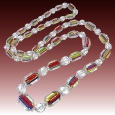 Rare Art Deco Iris Rainbow Glass Graduated Bead Necklace