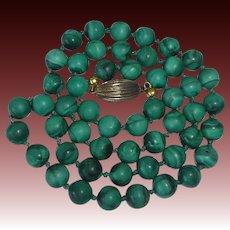 Genuine Malachite Gemstone Bead Necklace Sterling Clasp