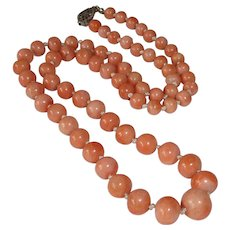 Antique Salmon Pink Coral Graduated Bead Necklace