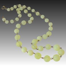 Frosted Uranium Glass Graduated Bead Necklace