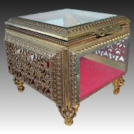 Ornate Gold Tone Metal Filigree & Beveled Glass Trinket Box