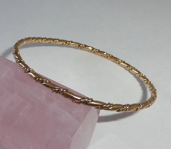 14k Yellow Gold Double Twisted Wire Bangle Bracelet : BeJewelled ...