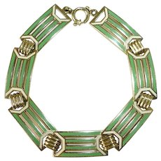 Art Deco 14K & Enamel Bracelet Wordley, Allsopp & Bliss c1920s