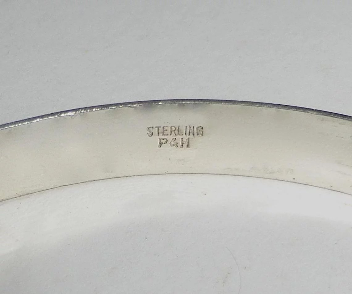 Fineline Design : Sterling fine line design signed p h bangle bracelet