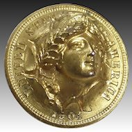 Antique Gold Filled Punch Coin Woman Pin c1904