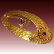 Victorian Art Nouveau Gilt Brass Belt Buckle