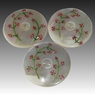 Set of 3 Mother of Pearl Buttons Painted Floral