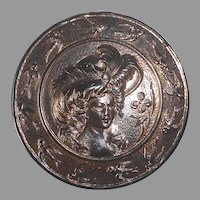 Copper Flashed Metal XL Edwardian Woman & Birds Button