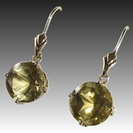 14k Yellow Gold & Citrine Pierced Earrings