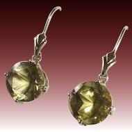 14k Yellow Gold & Citrine Pierced Earrings