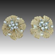 Frosted Lucite Flower Earrings w Rhinestones & Faux Pearls