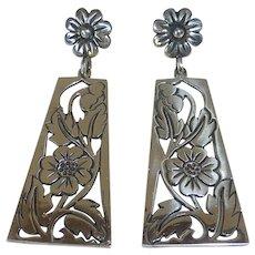 Mexican Sterling Pierced Long Floral Drop Earrings
