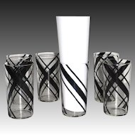 Set of 6 Art Deco Black Striped Drinking Glasses