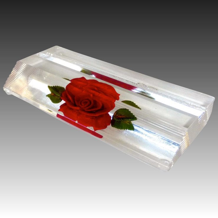 Reverse carved lucite rose business card holder or photo display reverse carved lucite rose business card holder or photo display colourmoves Gallery