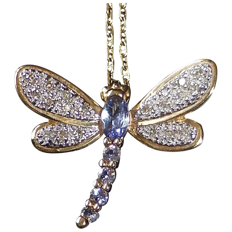 14k tanzanite diamond dragonfly pendant necklace sold ruby lane 14k tanzanite diamond dragonfly pendant necklace mozeypictures Images