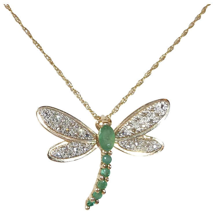 14k emerald diamond dragonfly pendant necklace sold ruby lane 14k emerald diamond dragonfly pendant necklace mozeypictures