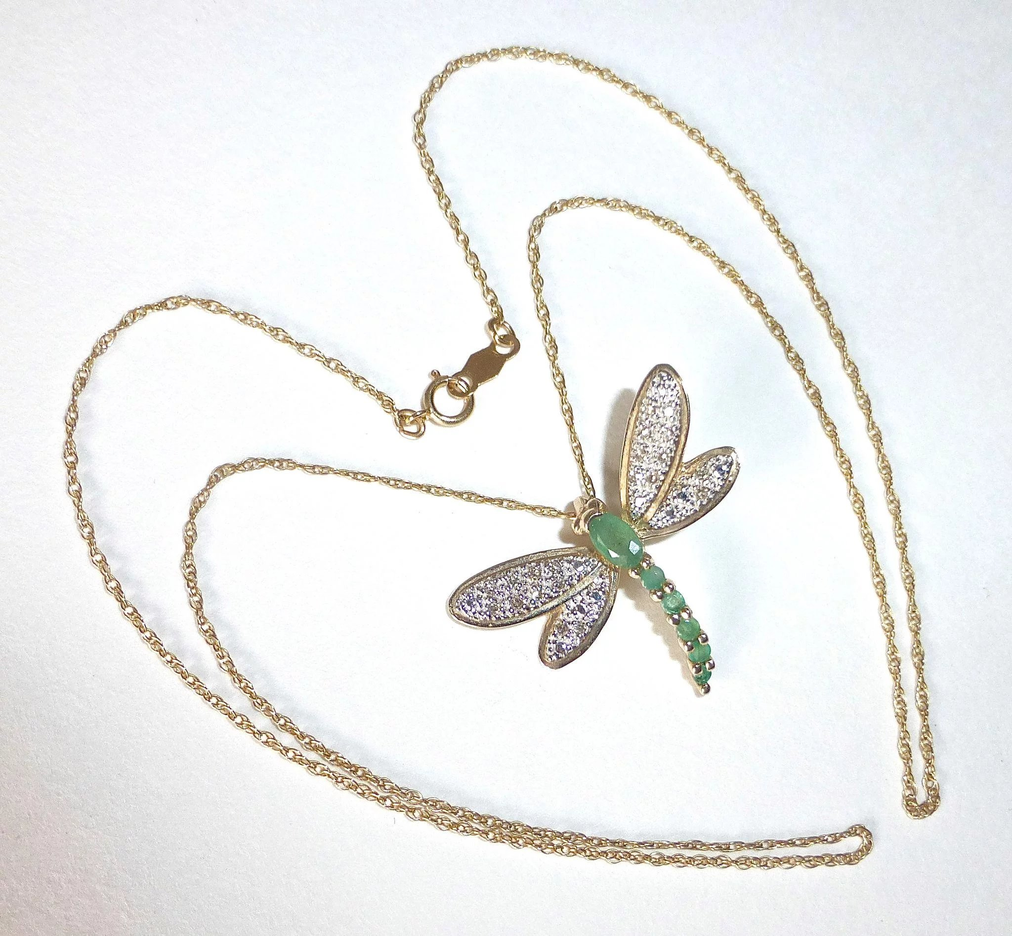 italian overstock today jewelry yellow gold watches dragonfly product shipping free fremada necklace pendant inches