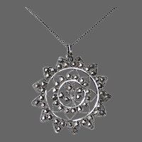 900 Silver Filigree Pendant & Chain