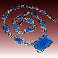 Art Deco Chrome & Enamel Pendant Necklace