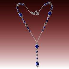 Art Deco Cobalt Glass Bead Czech Filigree Necklace