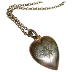 Victorian Rose Gold Filled Small Heart w Seed Pearl