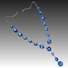 Art Deco Faceted Blue Glass Jewels Y Necklace