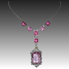 Art Deco Silver Tone Necklace~Pink Glass Jewels