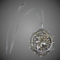 Sterling Silver Leafy Grapes Pendant & Chain