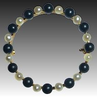 10k Edwardian Seed Pearl & Onyx Circle Mourning Pin