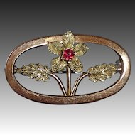 Victorian Gold Top Oval Floral Lace Pin