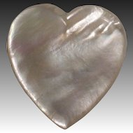 Antique Victorian Mother of Pearl Large Heart Pin
