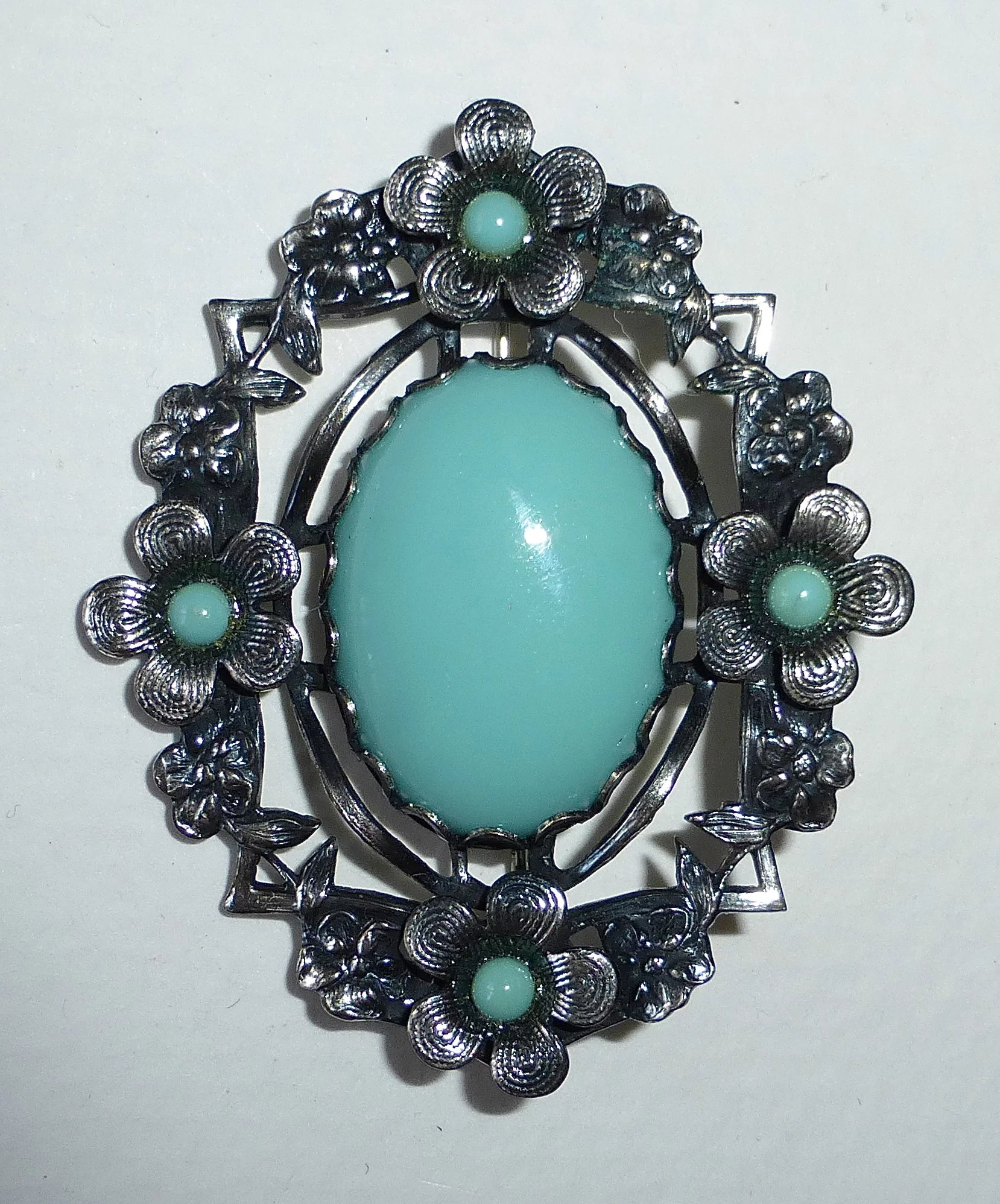 Silver Metal Faux Turquoise Costume Brooch Bejewelled