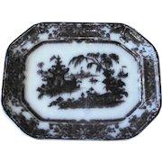 Antique Mulberry Black Willow Platter Staffordshire Podmore Walker