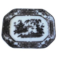 Antique Mulberry Black Willow Platter Staffordshire Podmore Walker